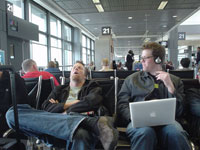 [Jeff and Greg Veen, pictured at the Austin airport, waiting for our flight back to San Francisco.]