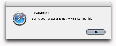 JavaScript: Sorry, your browser is not WIN32 Compatible