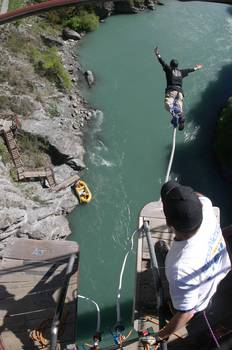 Doug, from above, bungy jumping off the Kawarau Bridge, just outside of Queenstown, New Zealand.
